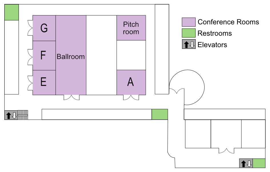 Map of conference rooms at the Tuscany.